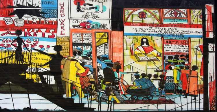 For Blacks Only 4, 1979, mixed media, 18.5 x 27.5 inches, Chicago State University Collection
