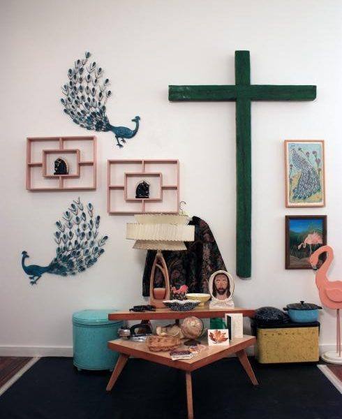 Jesus Table, reassembled 2010, mixed media, dimensions variable. On loan from the Roger Brown Study Collection.