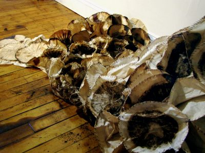 Alison Balcanoff, Underflow (detail), 2009, used coffee filters and thread