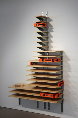 Jeff Carter, Untitled #2 (Chicago Tribune Tower), 2009, Modified IKEA products (pine, steel), plastic levels, and electric motor, 84 x 48 x 15 inches