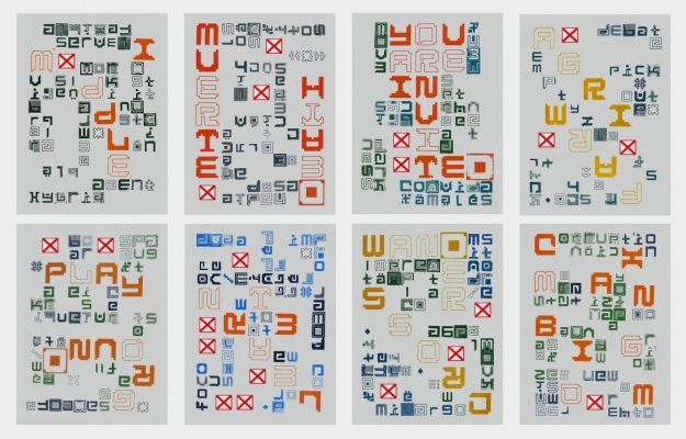 Monoprints from the Wxnder Wxrds series, 2014, on Japanese rice paper  made from movable type blocks